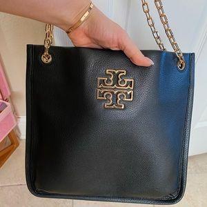 Tory Burch black leather chain purse